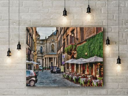 Beautiful City Street, Rome, Italy. Photographic Canvas.